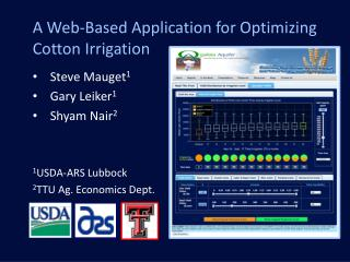 A Web-Based Application for Optimizing Cotton Irrigation