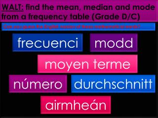WALT: find the mean, median and mode from a frequency table (Grade D/C)
