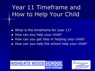 Year 11 Timeframe and How to Help Your Child