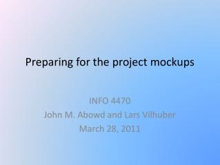 Preparing for the project  mockups