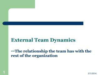 External Team Dynamics -- The relationship the team has with the rest of the organization