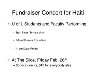 Fundraiser Concert for Haiti
