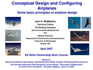 Conceptual Design and Configuring Airplanes  Some basic principles of airplane design