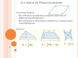 11.1 Areas of Parallelograms