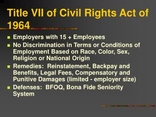 Title VII of Civil Rights Act of 1964