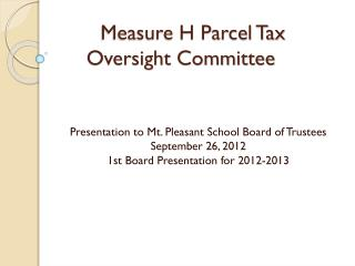 Measure H Parcel Tax Oversight Committee