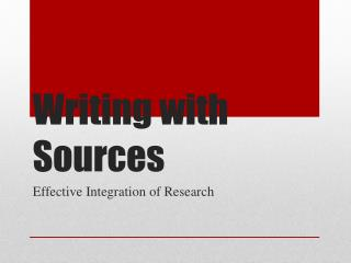 Writing with Sources