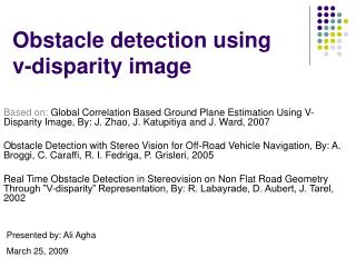 Obstacle detection using  v-disparity image