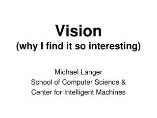 Vision (why I find it so interesting)