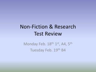 Non-Fiction & Research Test Review