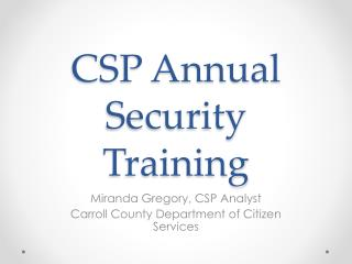 CSP Annual Security Training
