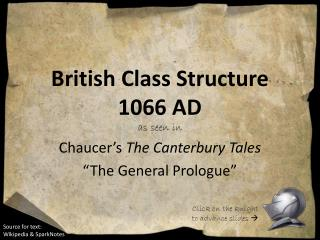 British Class Structure 1066 AD