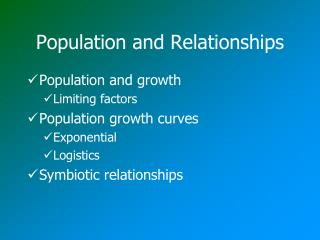 Population and Relationships