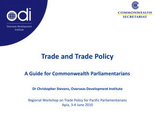 Trade and Trade Policy A Guide for Commonwealth Parliamentarians