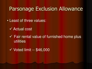 Parsonage Exclusion Allowance