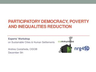 Participatory democracy ,  poverty  and  inequalities reduction