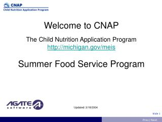 Welcome to CNAP The Child Nutrition Application Program  michigan/meis Summer Food Service Program