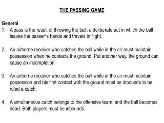 THE PASSING GAME General
