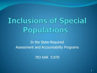 Inclusions of Special Populations