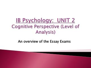 IB Psychology:  UNIT 2 Cognitive Perspective (Level of Analysis)