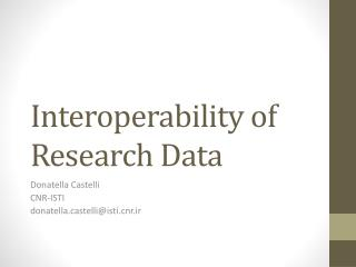 Interoperability of Research Data