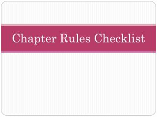 Chapter Rules Checklist