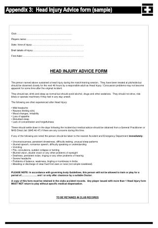 Appendix 3:  Head Injury Advice form (sample)