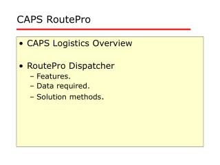 CAPS RoutePro