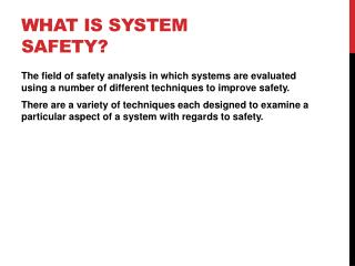 What is System Safety?