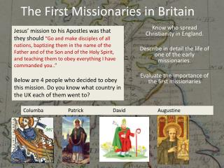 The First Missionaries in Britain