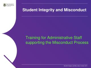 Student Integrity and Misconduct