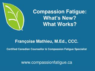 Compassion Fatigue: What's New?  What Works?