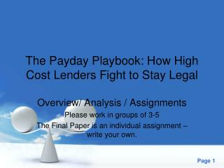 The Payday Playbook: How High Cost Lenders Fight to Stay Legal
