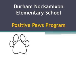 Durham  Nockamixon  Elementary School Positive Paws Program