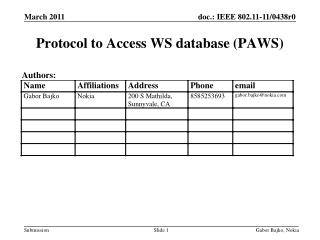 Protocol to  Access  WS  database (PAWS)