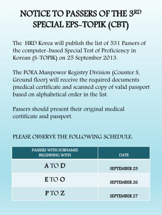 NOTICE TO PASSERS OF THE 3 RD  SPECIAL EPS-TOPIK (CBT)