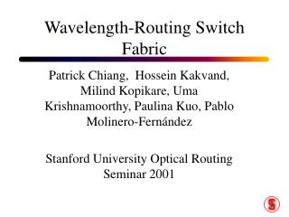 Wavelength-Routing Switch Fabric