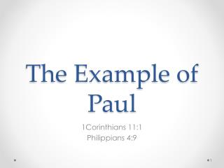 The Example of Paul