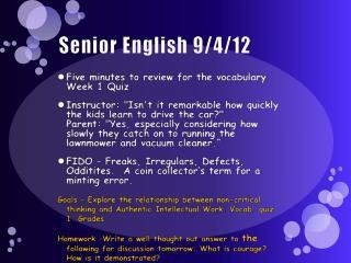Senior English  9/4/12