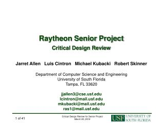 Raytheon Senior Project Critical Design Review
