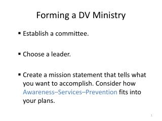 Forming a DV Ministry