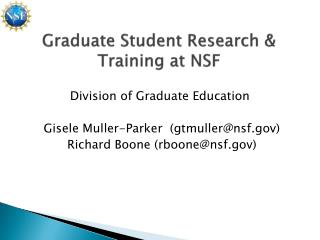 Graduate Student Research & Training at NSF