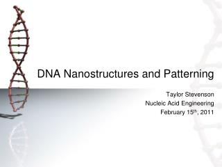 DNA Nanostructures and Patterning