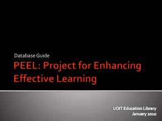 PEEL: Project for Enhancing Effective Learning
