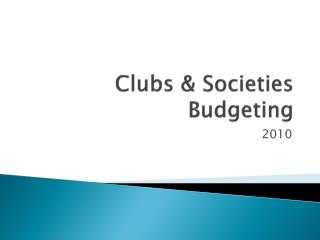 Clubs & Societies Budgeting