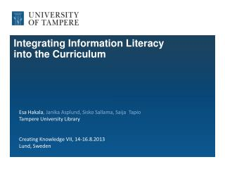 Integrating Information Literacy  into the Curriculum