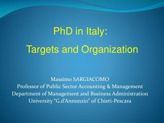 Massimo SARGIACOMO Professor of Public Sector Accounting & Management