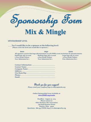 Sponsorship Form Mix & Mingle