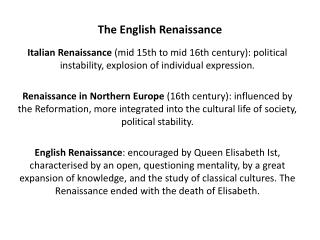 The English Renaissance