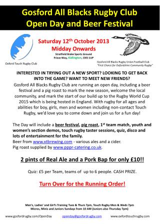 Gosford All Blacks Rugby  Club Open Day and Beer Festival